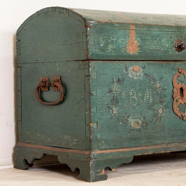 Antique Original Blue Painted Small Trunk Dated 1788 From Sweden For Sale - Image 10 of 13