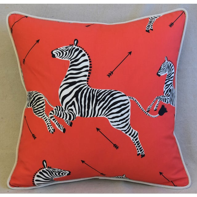 "Red Scalamandre Iconic Zebra & Velvet Feather/Down Pillow 20"" Square For Sale - Image 8 of 10"