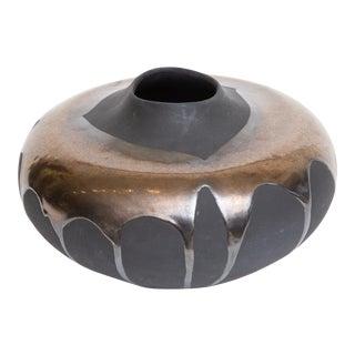 Haeger Charcoal Black Glazed Ceramic Bowl Vessel Vase With Volcanic Copper Gold Drip Glaze 80's For Sale