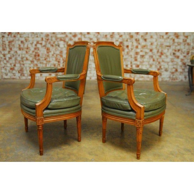 Louis XVI Style Leather Fauteuil Armchairs - A Pair - Image 2 of 10