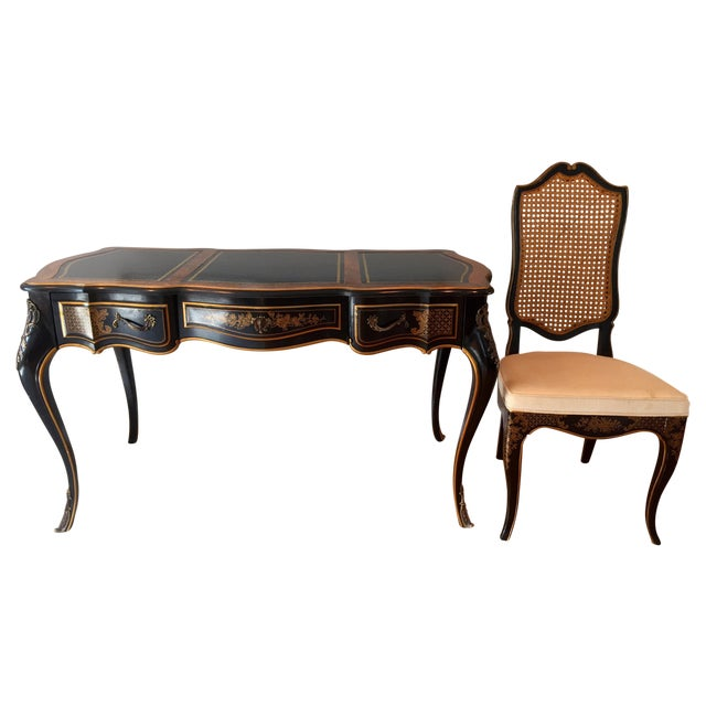 Drexel Chinoiserie Leather Writing Desk & Chair - Image 1 of 11