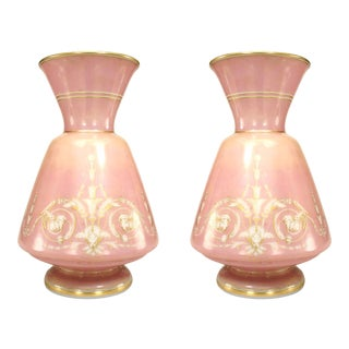 French Victorian Pink Opaline Glass Vases, Pair For Sale