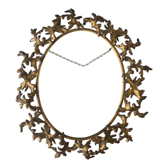 19th Century Antique English Gilt Bronze Oval Frame or Tray | Chairish