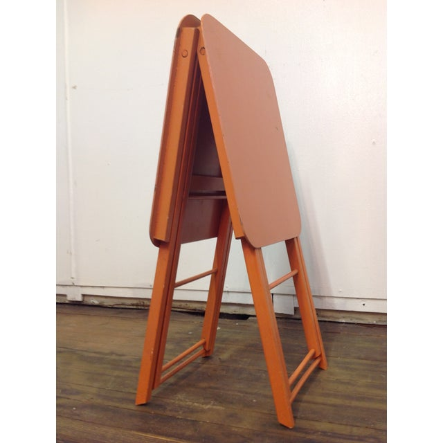 Orange Mid Century Collapsible Side Tables - Pair - Image 7 of 11