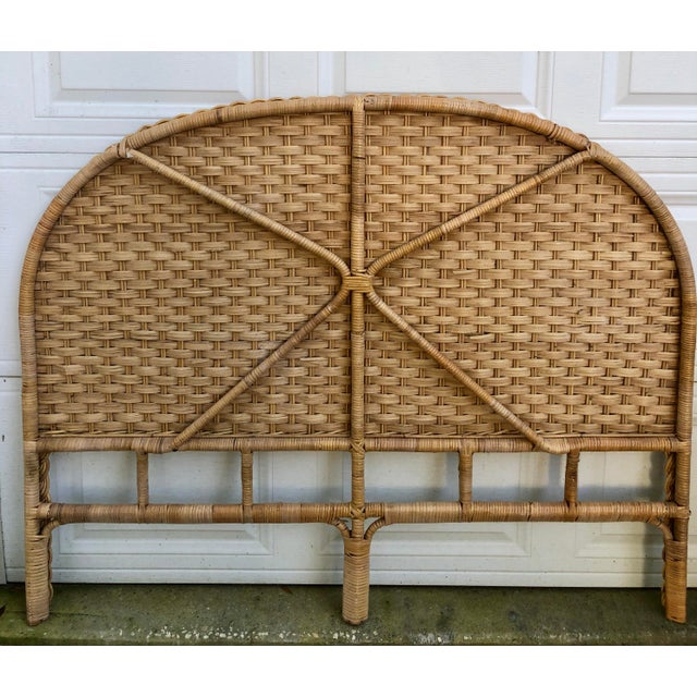 Amazing full size headboard in year round wicker. The bones of this headboard are bamboo rattan which is then wrapped,...