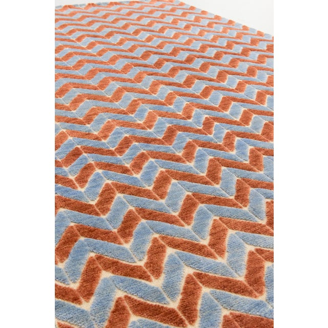 Color: Blue - Made In: India. 100% Wool. A contemporary zig-zag motif with a plush wool pile while the beige field is a...