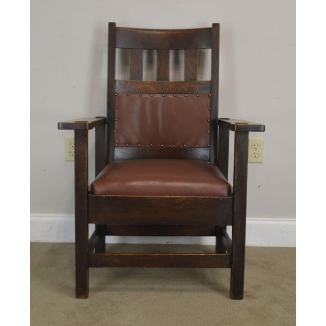 Stickley Brothers Antique Mission Oak Armchair | Chairish