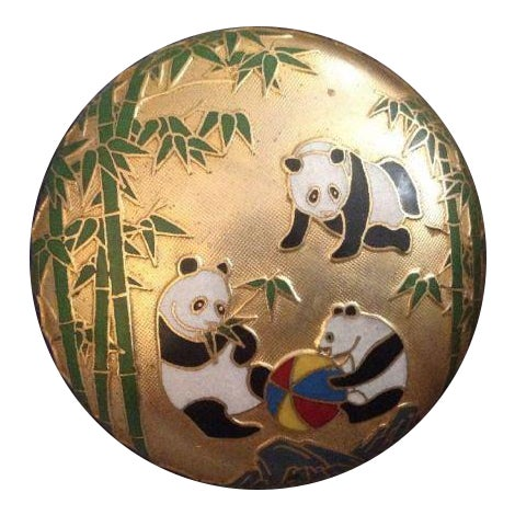 Chinese Cloisonne Enamel Panda Box With Lid For Sale