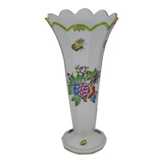 "Queen Victoria 9"" Fluted Vase by Herend For Sale"
