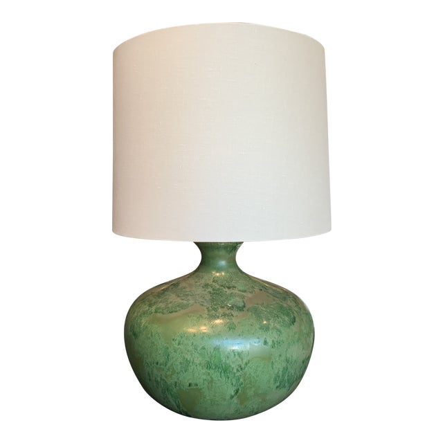 Mid-Century Modern - Green Hand Glazed Ceramic Lamp With Linen Shade For Sale