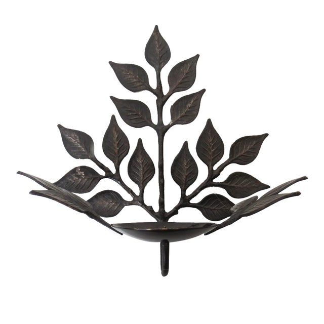 Leaf Candle Sconces - A Pair - Image 4 of 6