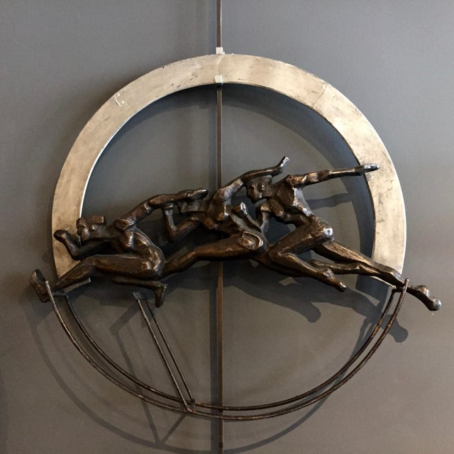 """1930s Set of 1930s Olympic Athlete Metal Wall Sculptures, 30"""" For Sale - Image 5 of 11"""