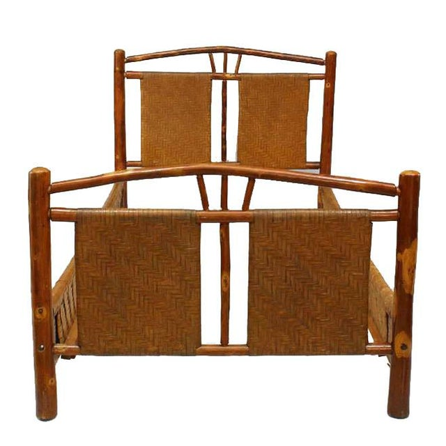 Old Hickory Furniture Co. Rustic Old Hickory Bed With Natural Woven Design For Sale - Image 4 of 4