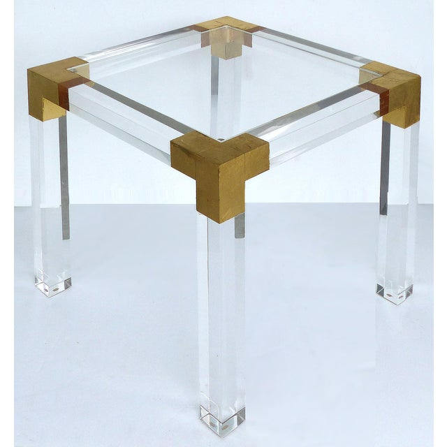 Modern Custom Lucite Side Table W/ Interchangeable Tops & Gold Leaf Accents For Sale - Image 3 of 10
