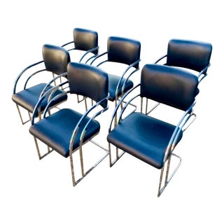 1980s Vintage Milo Baughman Cantilevered Dining Chairs- Set of 6 For Sale