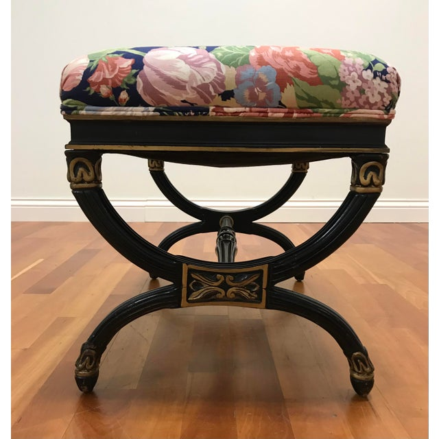 Maison Jansen Vintage Hollywood Regency X Form Stool Bench Karges For Sale - Image 4 of 6
