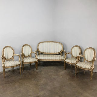 Pair 19th Century French Louis XVI Giltwood Armchairs Preview