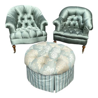 Vintage Satin Upholstered Lounge Chairs and Ottoman - 3 Pieces For Sale