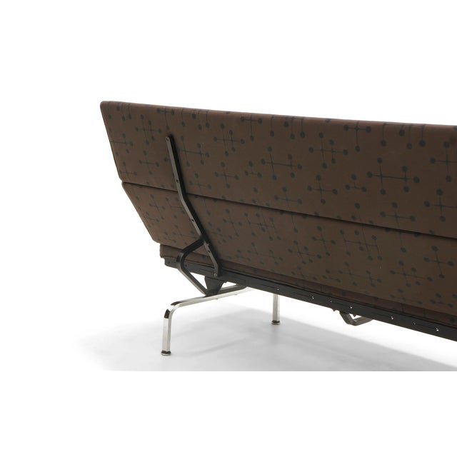 Aluminum Charles and Ray Eames Sofa Compact for Herman Miller in Eames Dot Pattern Fabric For Sale - Image 7 of 10