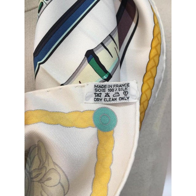 2000 - 2009 Hermes Les Cannes Silk Scarf in White For Sale - Image 5 of 11