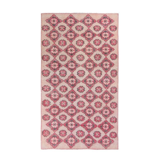 1960s Vintage Decorative Turkish Area Rug - 3′10″ × 6′11″ For Sale