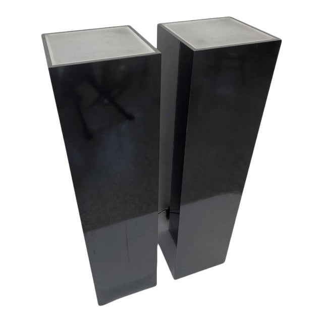 Vintage Pedestals Illuminated Black and Frosted Lucite - a Pair For Sale