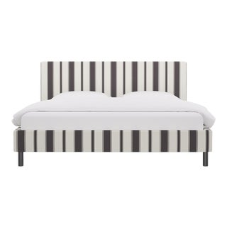 King Tailored Platform Bed in Charcoal Clarence Stripe For Sale