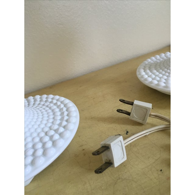 Mid-Century Wood & Hobnail Milk Glass Lamps - Pair For Sale - Image 10 of 10