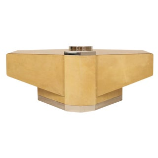 Custom Parchment 'Concorde' Cocktail Table by Lorin Marsh For Sale