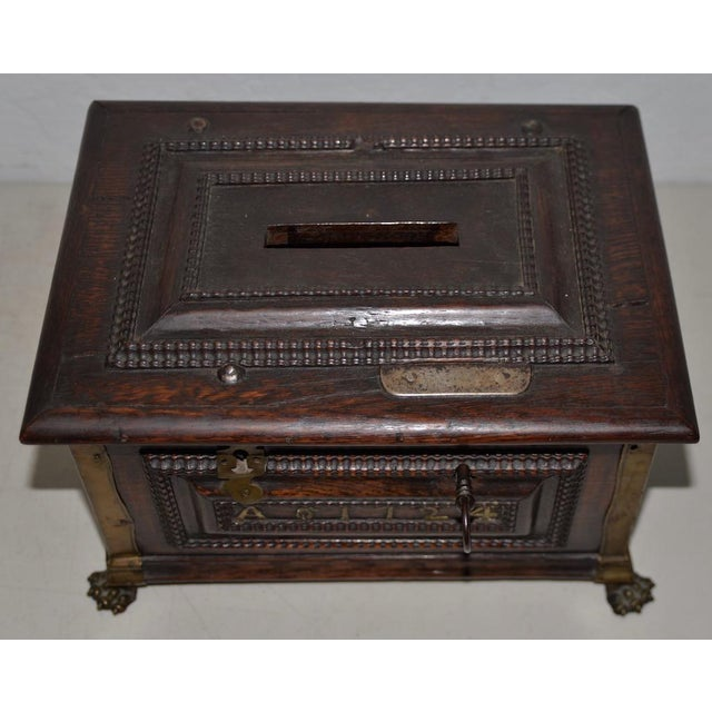 Gold Early 18th Century Carved Walnut & Brass Alms Box C. 1724 For Sale - Image 8 of 13
