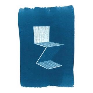 Gerrit Rietveld Zig-Zag Chair Cyanotype Print on Watercolor Paper