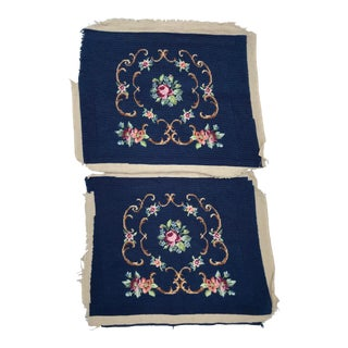 Pari of Victorian Style Needlepoint Seat Covers For Sale