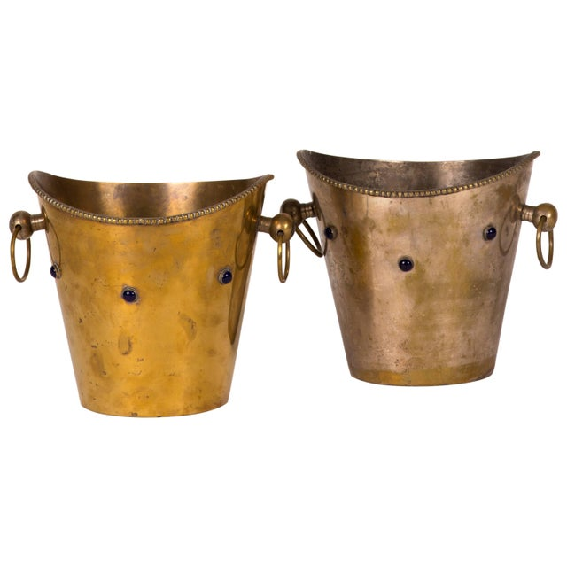 1900s Pair of Champagne or Wine Buckets With Blue Stones From France Circa 1900 For Sale - Image 5 of 5