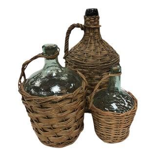 Vintage Basket Surrounded Demijohns - Set of 3 For Sale
