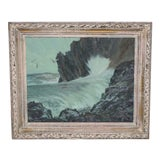 Image of Nat Levy (California, 20th C.) Seascape C.1950s For Sale