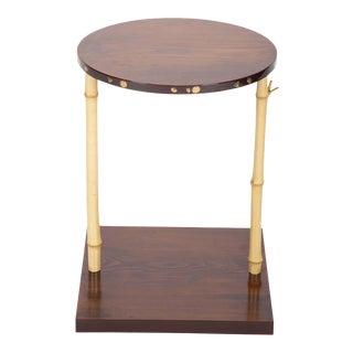 Japanese Pine and Bamboo and Lacquered Side Table For Sale