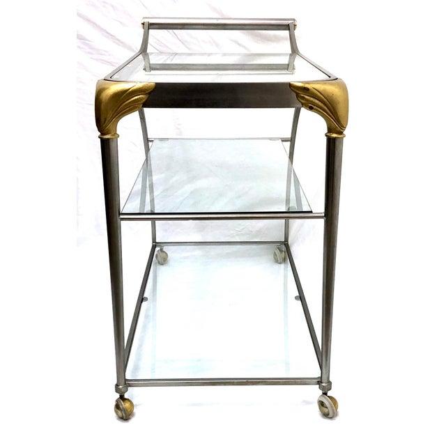 Gold 20th Century Hollywood Regency Steamline Bar Cart For Sale - Image 8 of 12