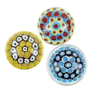 Fratelli Toso Murano Vintage Millefiori Roses Flowers Italian Art Glass Mid Century Paperweights - a Set