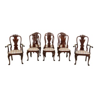 Set of 8 Stickley Mahogany Philadelphia Queen Anne Style Dining Room Chairs For Sale