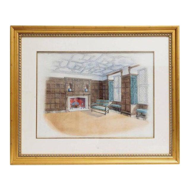 Interior Watercolor Scene For Sale