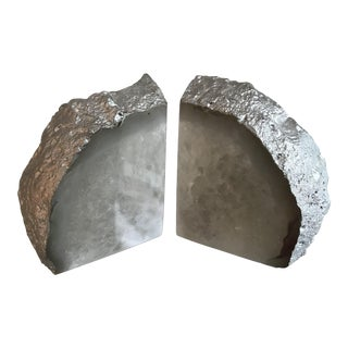 Geode Bookends With Silver Leaf - A Pair