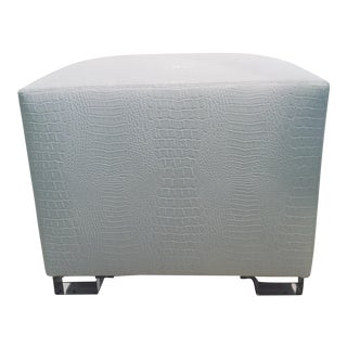 Modern White Faux Crocodile Acrylic Footstool