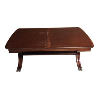Vintage Baker Leather Top Mahogany Expandable Coffee Table For Sale