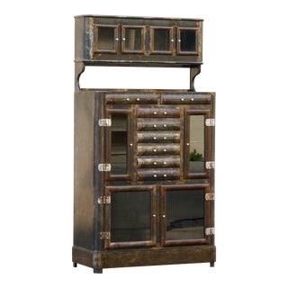 1920s Apothecary Cabinet With Distressed Patina For Sale