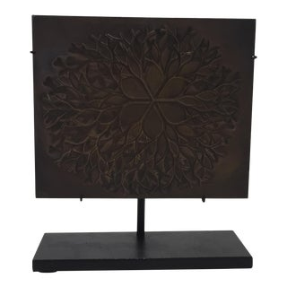 "1970s Vintage Ruth Asawa ""Flower"" Cast Bronze Bas Relief Sculpture For Sale"