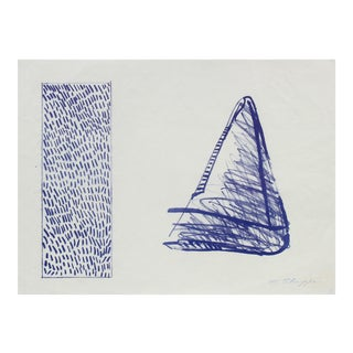 Triangle Abstract Lithograph in Blue, Late 20th Century For Sale