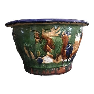 Large Early 20th Century Chinese Sancai Glaze Ceramic Jardiniere For Sale