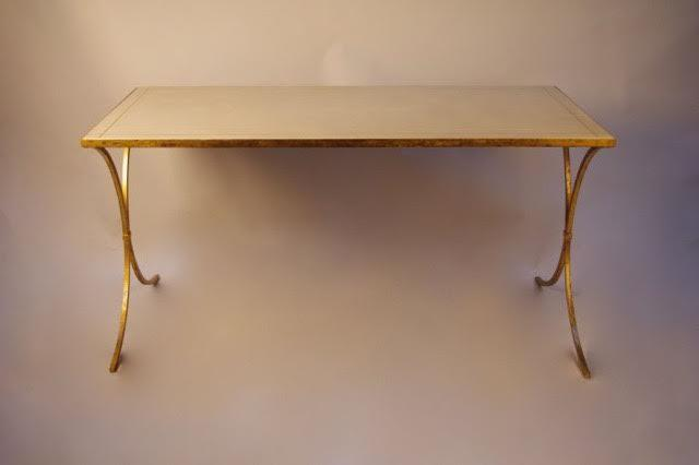 French Gilt Leather Top Desk For Sale. Gilt X Base Iron Table That Hails  From France, 1970. The Top Is