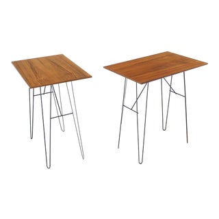 Vintage Mid Century Console Tables on Wire Legs- a Pair For Sale