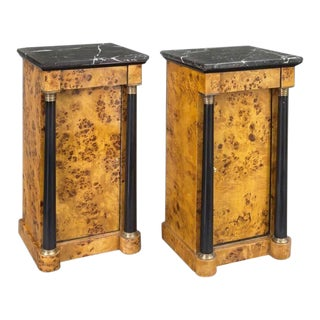 Pair of 19th Century French Empire Elm and Ebonized Nightstands With Marble For Sale